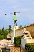 stock photo of hoplite  - The Sculpture Of King Leonidas In Thermopylae - JPG