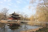 image of winter palace  - Old Summer Palace of Beijing, with pavilion and reflection on the lake in winter