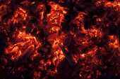 picture of ember  - Full frame shot of glowing embers in hot red color - JPG