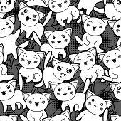 stock photo of kawaii  - Seamless halloween kawaii cartoon pattern with cute cats - JPG
