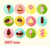pic of ice-cake  - Collection of vector sweet icons with ice cream  cupcakes  cakes  doughnuts  sundae  milkshake and ice lolly with chocolate  cherry and icing toppings on round colored buttons - JPG