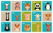 stock photo of monkeys  - Set of colorful named cartoon vector icons of animals and pets in flat style with the heads of a horse  cow  monkey  tiger  panda  penguin  deer  roe  pig  sheep  elephant  dog  fox  bear and giraffe - JPG