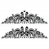 picture of black-cock  - Decorative traditional black and white vector patters set  - JPG