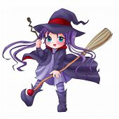 stock photo of chibi  - Cartoon illustration of a cute witch with her broom and magic wand - JPG