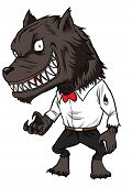 image of werewolf  - Cartoon illustration of a werewolf isolated on white - JPG