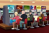 image of slot-machine  - A vector illustration of senior people playing slot machines in the casino - JPG