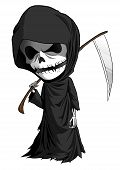 stock photo of scythe  - Cartoon illustration of grim reaper with scythe isolated on white - JPG