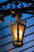 picture of roof-light  - Old-fashioned Decorative Street Lantern under Blue Roof Outdoors. Night View