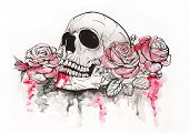 foto of day dead skull  - Skull and Flowers Vector Illustration Day of The Dead - JPG