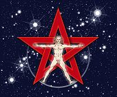 stock photo of pentacle  - Vitruvian man standing in front of red pentagram with stars in deep space background - JPG