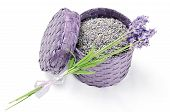 stock photo of bast  - Dried and fresh lavender flowers in a purple bast basket - JPG