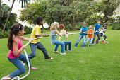 picture of tug-of-war  - Cute pupils playing tug of war on the grass outside at the elementary school - JPG