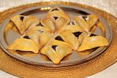 stock photo of purim  - magen david made from Hamantaschen cookies for Jewish festival of Purim