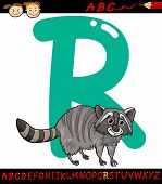 foto of raccoon  - Cartoon Illustration of Capital Letter R from Alphabet with Raccoon Animal for Children Education - JPG