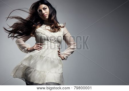 Beauty Plus Size Woman With A Blowing Hair