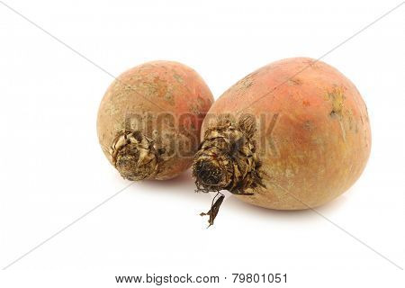 freshly harvested yellow beets on a white background