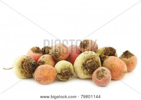 colorful mix of red,yellow and white beets on a white background