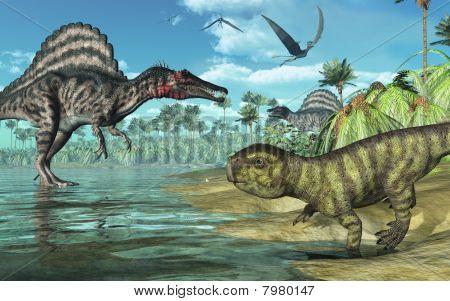 Prehistoric Scene With Spinosaurus And Psittacosaurus Dinosaurs 2