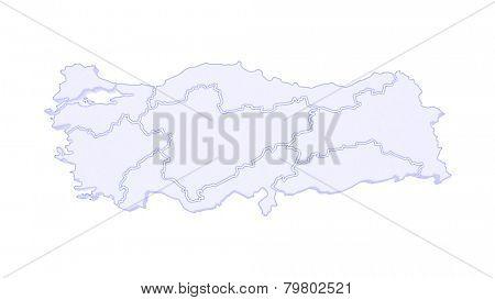 Map of Turkey. 3d
