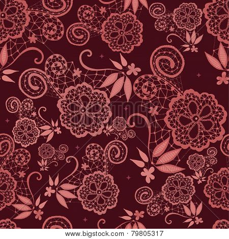 Flowery design with lace in Marsala tones