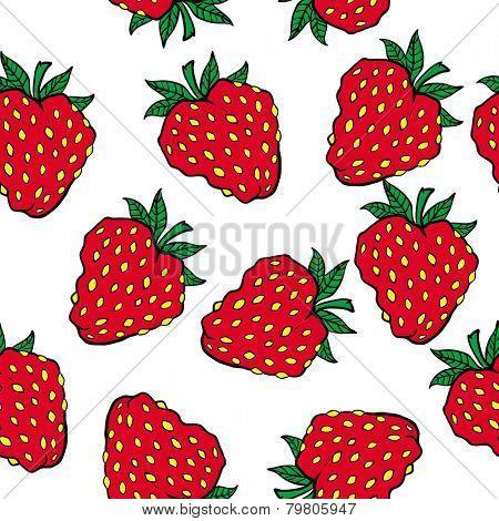 strawberry seamless pattern on white