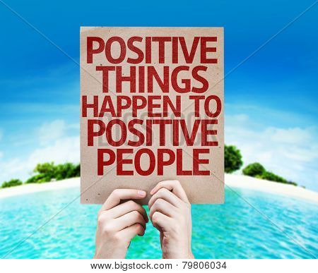 Positive Things Happen to Positive People card with a beach on background