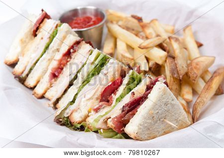 Clubhouse Sandwich With Fries