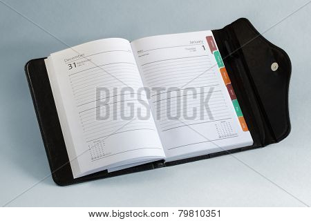 Diary or personal organizer planner open to blank page