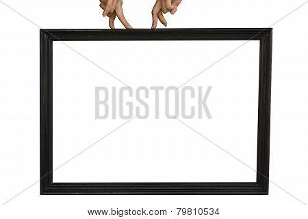 A woman's fingers walking on black frame