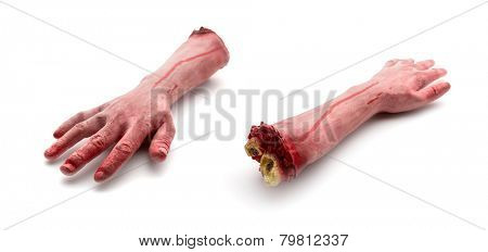 Two artificial human bloody arms