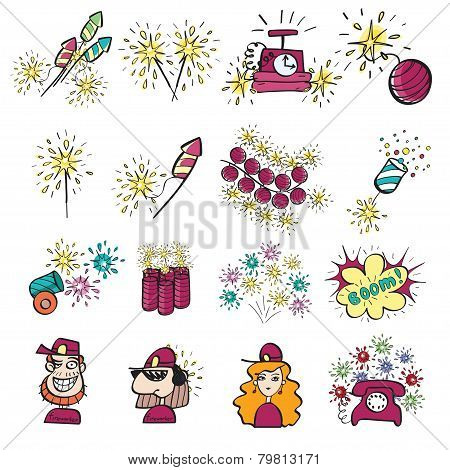 Pyrotechnic Doodle Icons Set