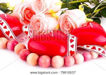 Red Heart Candles, Necklace And Roses