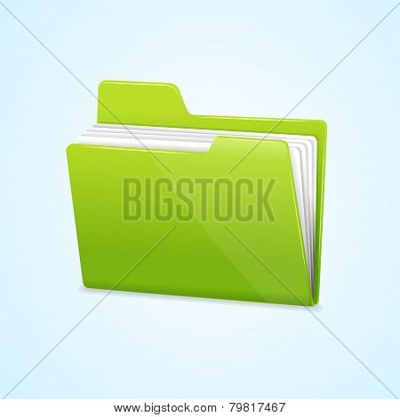 Vector Green file folder icon isolated on blue
