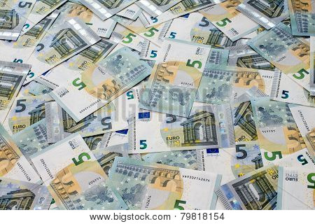 Many Of Five Euro Banknotes