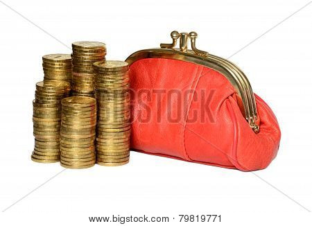 Red Wallet And Coins.