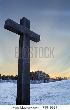 Cross with Woodland cemetery in Stockholm, Sweden in back