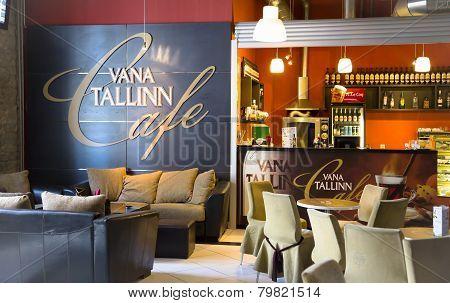 Comfortable interior of cafe Vana Tallinn