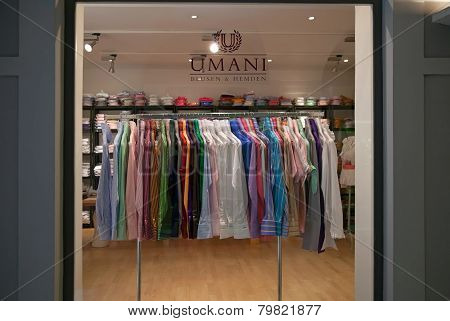 Munich, Germany - June 26, 2009: Fashion Men Store Shop Window. Storefront Umani Blusen & Hemden. Co