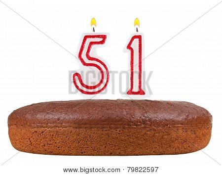 Birthday Cake With Candles Number 51 Isolated