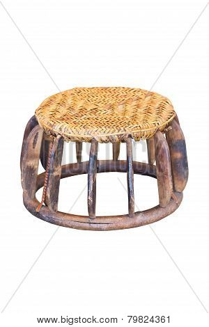Small Wicker Wood Table, Handmade Appliance By Hill Tribe Mountaineer.