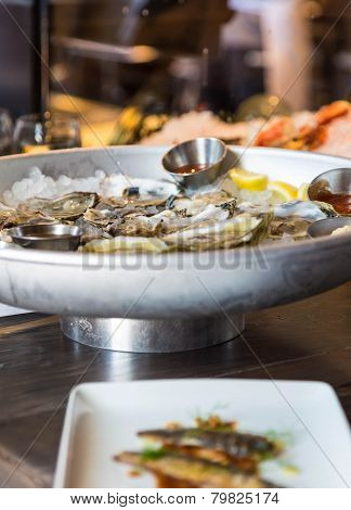 Oysters In Seafood Restaurant
