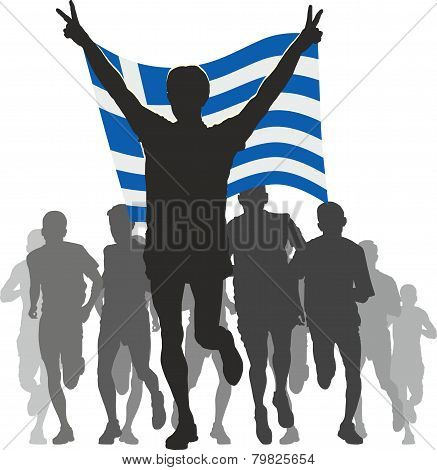Winner with the Greece flag at the finish