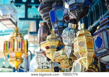 Traditional Lamps In Shop In The Medina Of Tunis,tunisia
