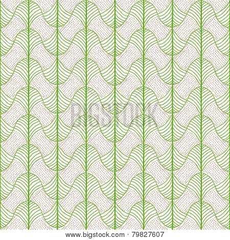Abstract Traditional African Ornament. Bright green colors. Seamless vector pattern.