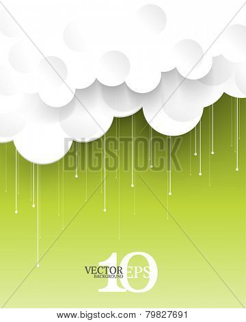 eps10 vector paper clouds and rains concept background