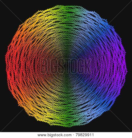 Isolated Abstract Geometric Spectral Rainbow Colored Background From Broken Lines