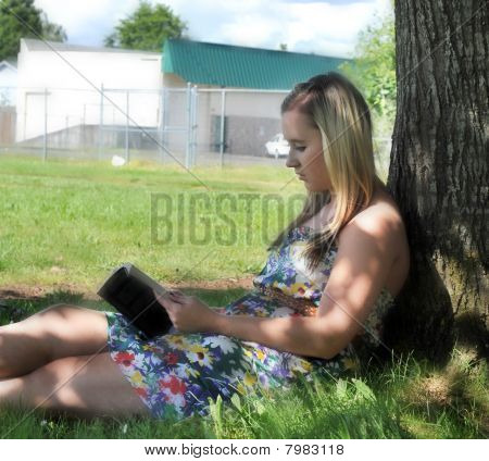 Girl Reading Book Under Tree In Shade