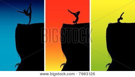 Yoga Meditation on Top of Rock