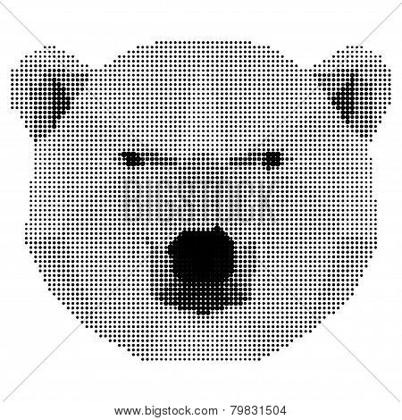 Abstract Monochrome Polar Bear Isolated On White Background