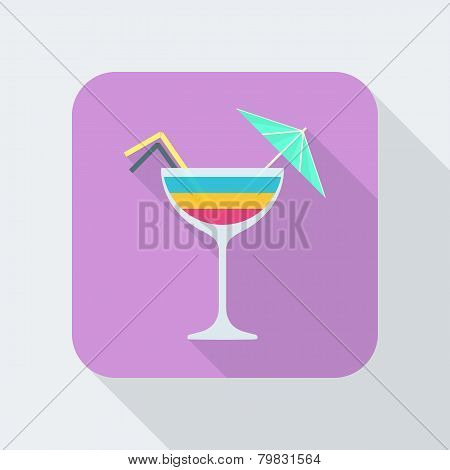 flat style cocktail icon with shadow